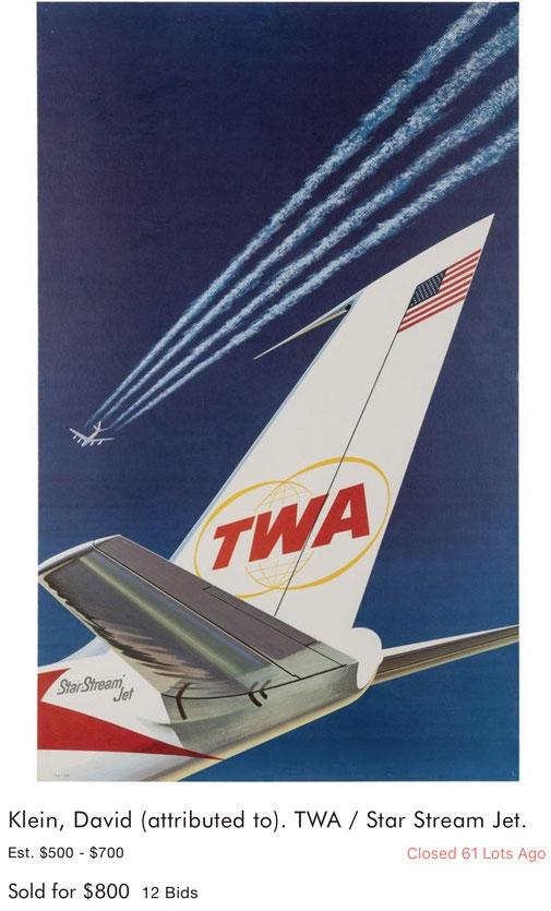 TWA - Star Stream Jet - Original vintage airline poster