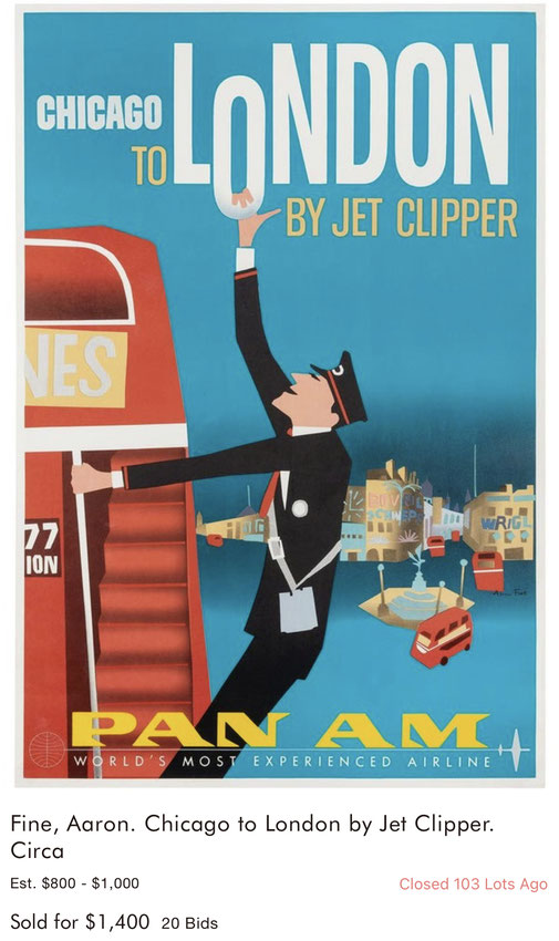 Pan Am - London - Aaron Fine - Original vintage airline poster