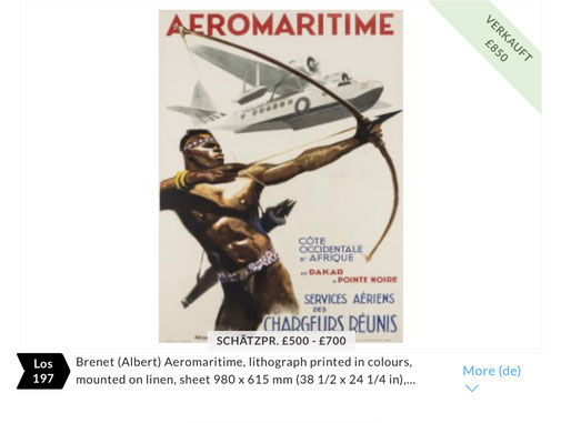 Aeromaritime - Original vintage airline poster by Albert Brenet