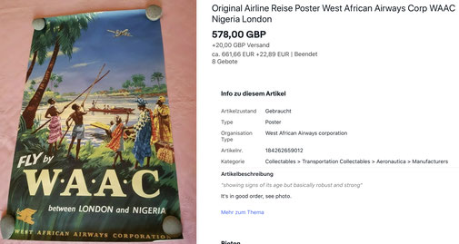 Fly by WAAC between London and Nigeria - Original vintage airline poster
