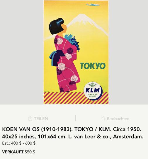 KLM - Tokyo - Koen van Os - Original vintage airline poster