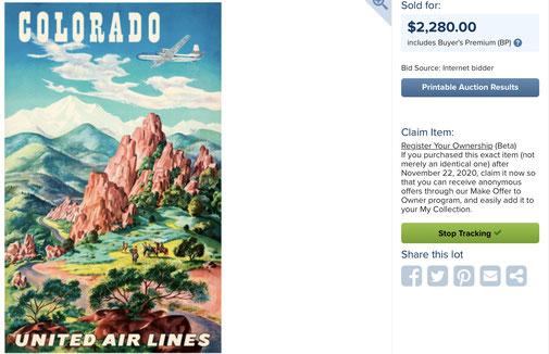 United Air Lines - Colorado - Joseph Feher - Original vintage airline travel poster