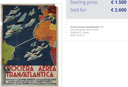 Crociera Aerea Atlantica - Original vintage airline poster by Lazzaro (1931)