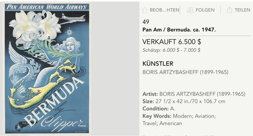 Pan American Wolrd Airways - Bermuda by Clipper - Boris Artzybasheff - Original vintage airline poster