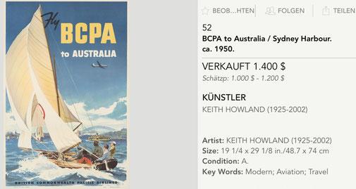 BCPA - to Australia - Original vintage airline poster