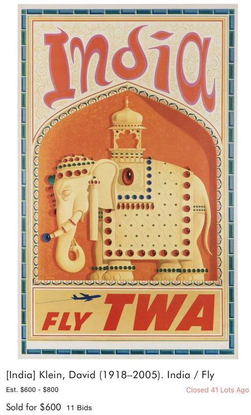 TWA - India - David Klein - Original vintage travel poster