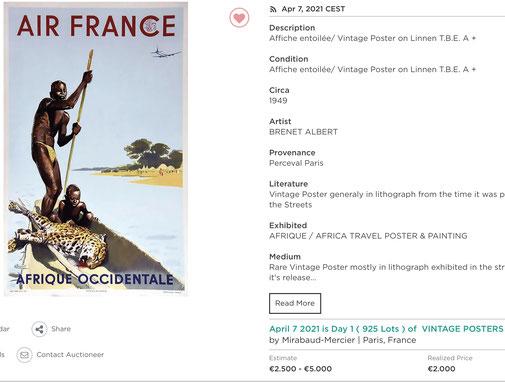 Air France - Afrique occidentale - Brenet - Original vintage airline poster