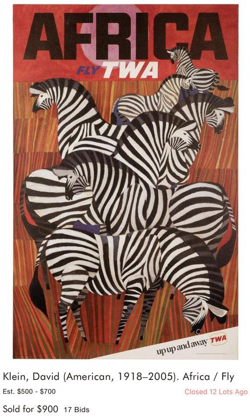 TWA - Africa - David Klein - Original vintage travel poster