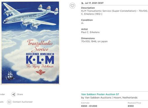 KLM - Transatlantic Service - Paul C. Erkelens - Original vintage airline poster