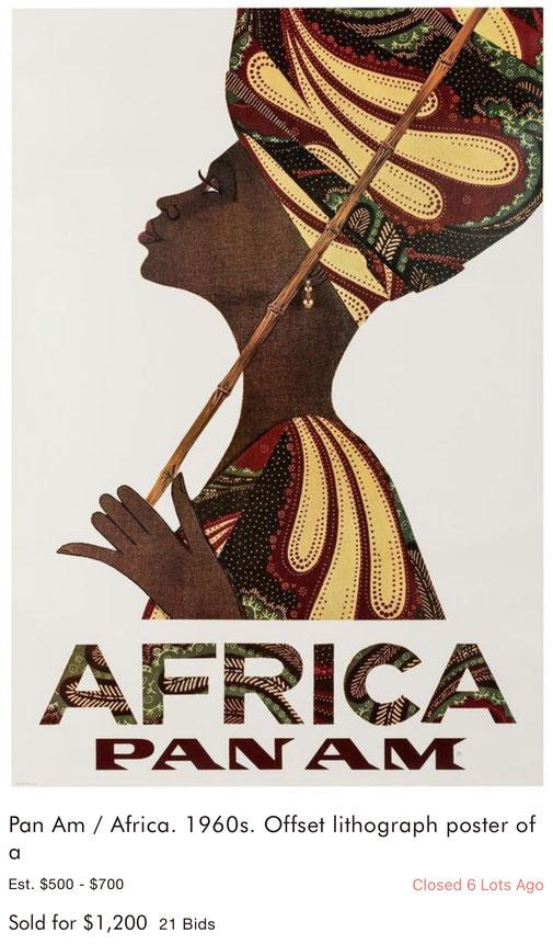 Pan Am - Africa - Original vintage airline poster