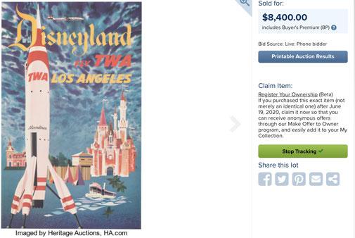 Disneyland Los Angeles - Fly TWA - Original vintage airline poster by David Klein
