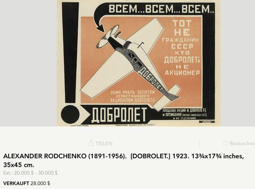 Dobrolet - Alexander Rodchenko - Original vintage airline poster