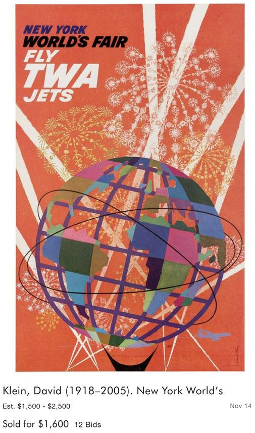 TWA - New York World's Fair - David Klein - Original vintage airline poster