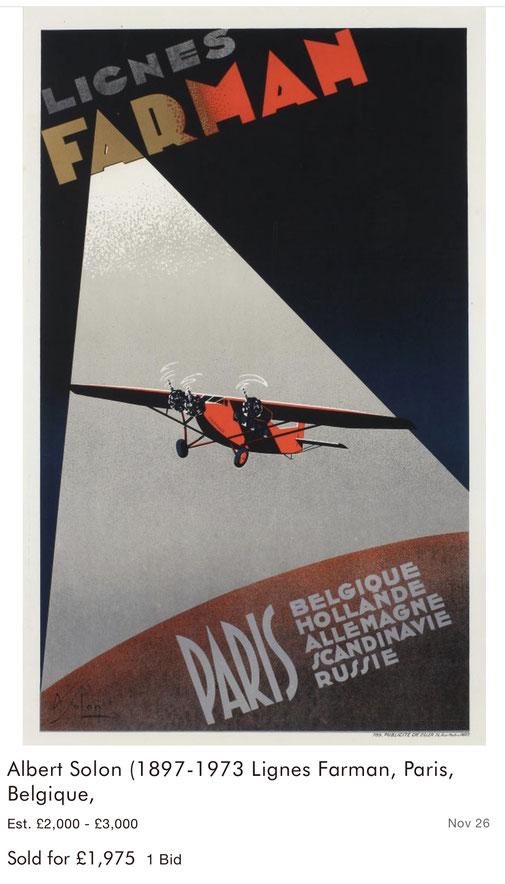 Lignes Farman - Paris - Albert Solon - Original vintage travel airline poster