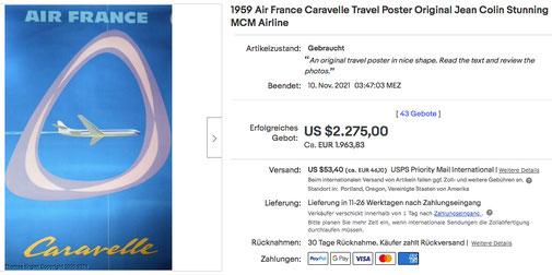 Air France - Caravelle - Jean Colin - Original vintage airline poster