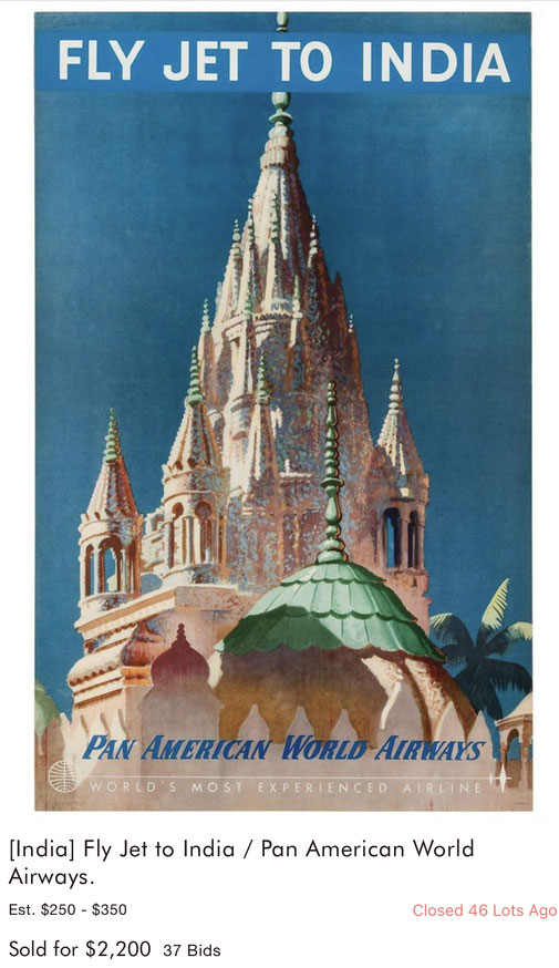 Pan American World Airways - Fly Jet to India - Original vintage airline poster
