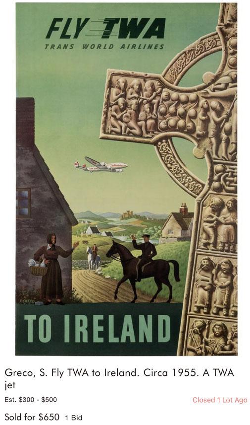 TWA - Ireland - Simon Greco - Original vintage travel poster