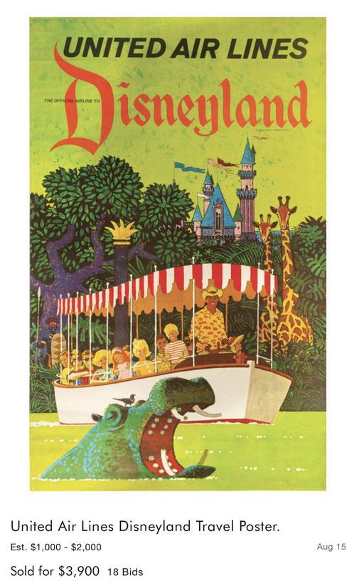 United Air Lines - Disneyland - Stan Galli - Original vintage airline poster