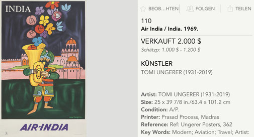 Air-India - India - Original vintage airline poster by Tomi Ungerer