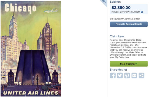 United Air Lines - Chicago (written Chicaqo) - Joseph Feher - Original vintage airline poster