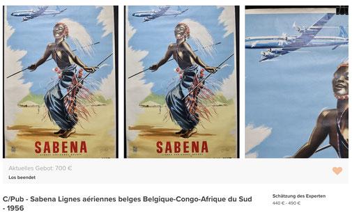 SABENA - Belgiqur-Congo-Afrique du Sud - C/Pub - Original vintage airline poster