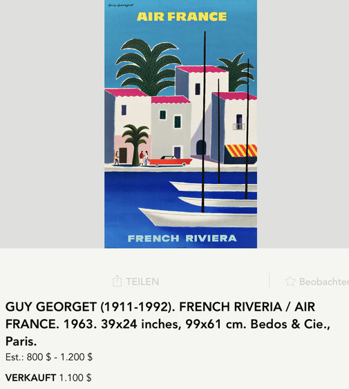 Air France - French Riviera - Guy Georget - Original vintage airline poster