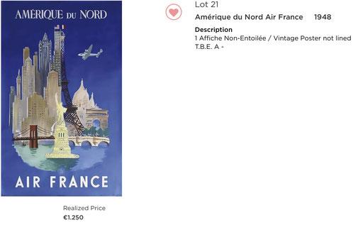 Air France - Amerique du nord - Luc Marie Bayle - Original vintage airline poster