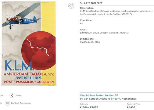 KLM - Amsterdam-Batavia - Emmanuel Gaillard - Original vintage airline poster
