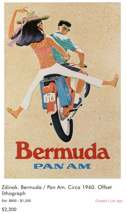 Pan Am - Bermuda - Zdinak - Original vintage airline poster