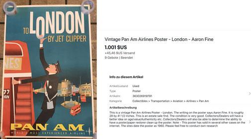 Pan Am - London - Original vintage airline poster by Aaron Fine