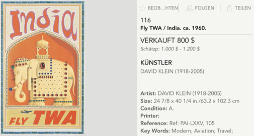 TWA - India (Jet version) - Original vintage airline poster by David Klein