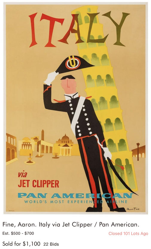 Pan Am - Italy - Aaron Fine - Original vintage airline poster