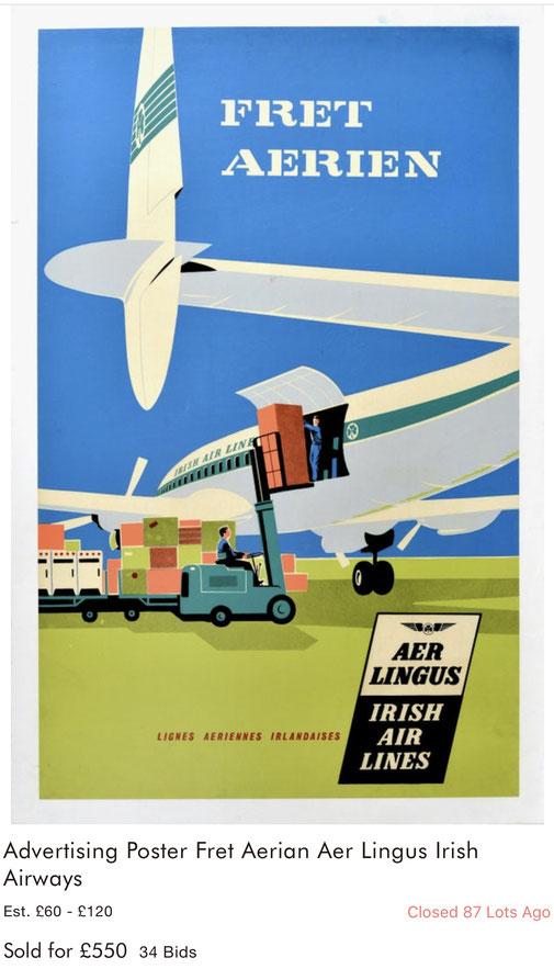 Aer Lingus - Fret aerien - Original vintage airline poster