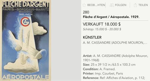 Fleche d'Argent - Aeropostale - Original vintage airline poster by A. M. Cassandre