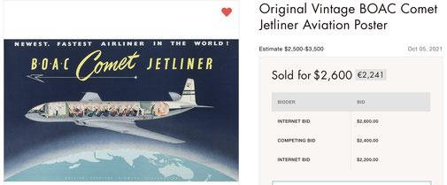 BOAC - Comet Jetliner - Original vintage airline poster