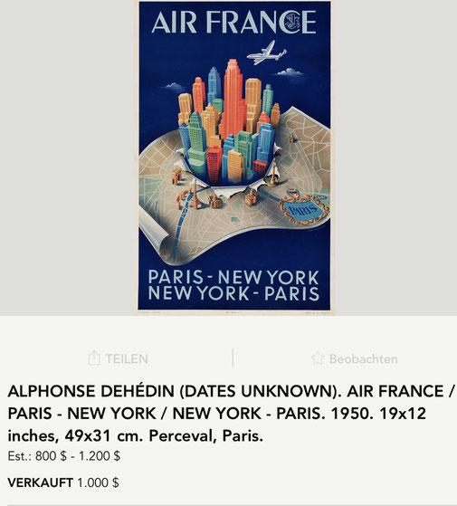 Air France - Paris – New York - Alphonse Dehédin - Original vintage airline poster