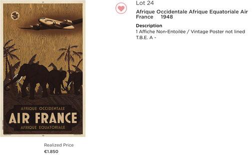 Air France - Afrique occidentale - Guerra - Original vintage airline poster