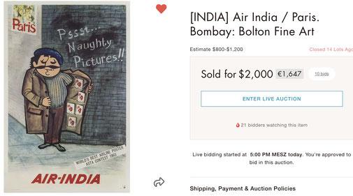 Air-India - Paris - Original vintage airline poster