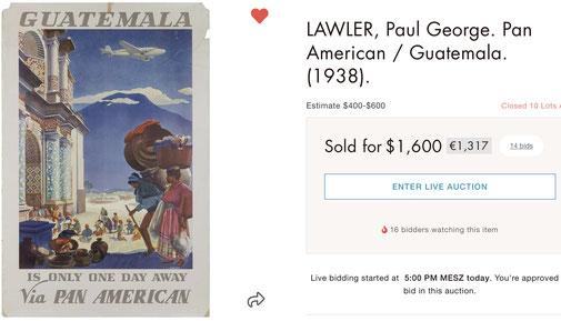 Pan American - Guatemala - Paul George Lawler - Original vintage airline poster