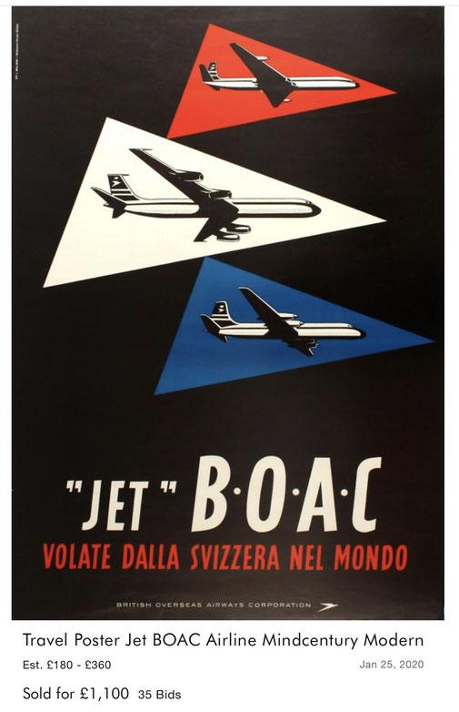 """BOAC - """"Jet"""" B.O.A.C. volate dalla Svizzera nel mondo - J. Wild - Original vintage airline poster"""