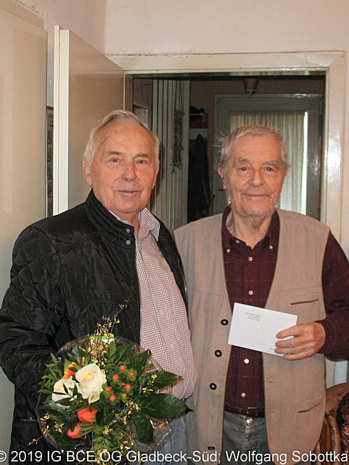 Foto: 85  Geburtstag, Horst Nieszporek, IG BCE OG Gladbeck-Süd, 2020