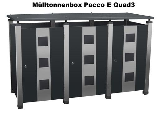Der Mülltonnenschrank Pacco E Quad3 ist auch für vier oder fünf Mülltonnen lieferbar.