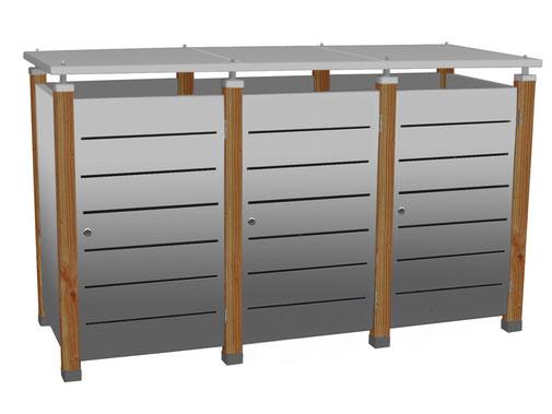 Mülltonnenboxen der Serie Pacco sind aus Edelstahl und Alunox hergestellt.
