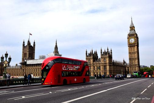 Big Ben, Roter Bus, Brücke, Themse