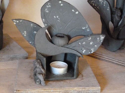 Brûle-parfum Sylvie Ruiz avec Sculpture de Caco ...Grès Cru