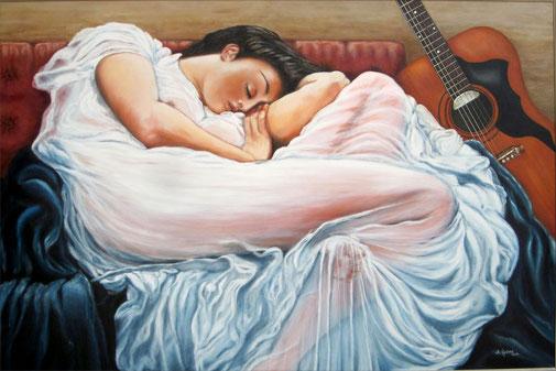 Schlafendes Mädchen nach dem Tanz