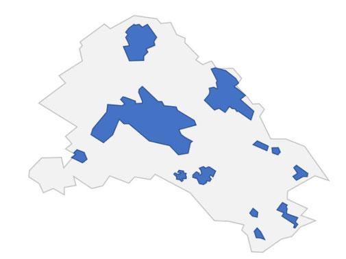Die blau eingezeichneten Bereiche von Gossau ZH verfügen neu über Glasfaser-Internet. Grafik: Swisscom