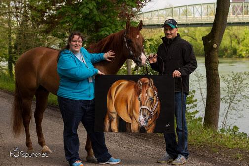 """Das Acrylgemälde """"I Am A Ruf Boy"""" mit dem erfolgreichen Quarter Horse Hengst und seinem Reiter Cody Sapergia"""
