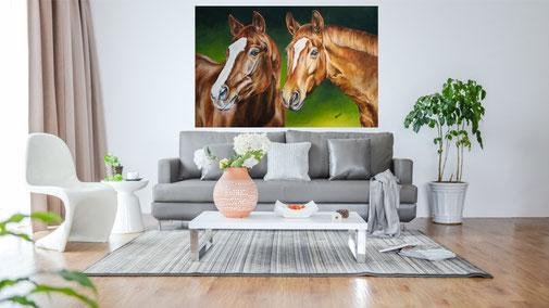 """Wohnzimmer Beispiel Acrylgemälde """"Wichtel und Rosi"""""""