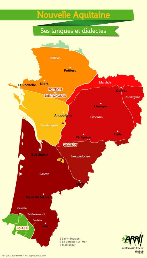 Carta de la Novela Aquitània, avèque las lingas mai sos dialectes.